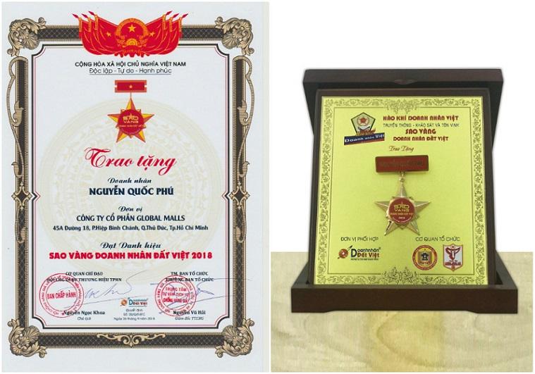 Global Malls - Chứng nhận Sao Vàng Doanh Nhân Đất Việt 2018 được trao cho Chủ tịch Nguyễn Quốc Phú